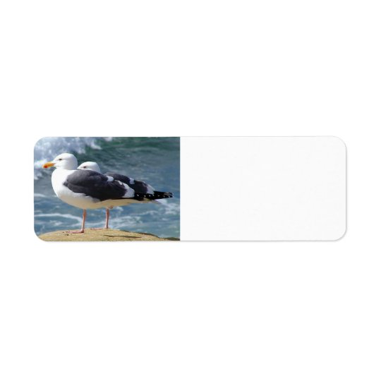 TWO OCEAN SEAGULLS WAVES ROCK BEACH PHOTOGRAPHY BI RETURN ADDRESS LABEL
