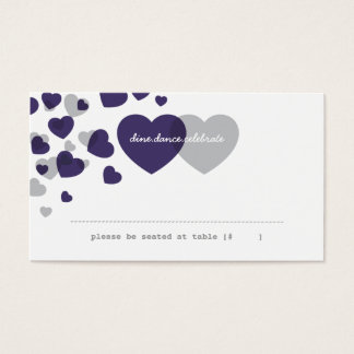 Two of Hearts Escort Card - Plum & Gray