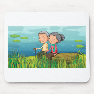 Two old people sitting near the lake mouse pad