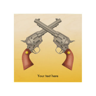 Two old west crossed pistols - Revolver Wood Print