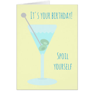 Two olive martini Happy Birthday Greetings Card