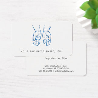 Two Open Hands (Blue) Business Card