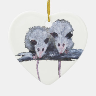 """Two Opossums"" Heart Ornament"