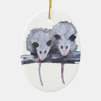 """""""Two Opossums"""" Oval Ornament"""