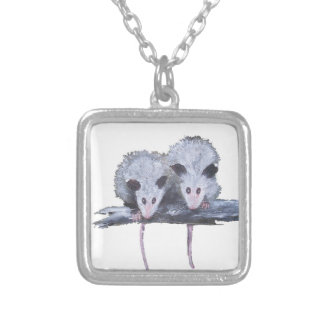 """Two Opossums"" Silver Plated Necklace"