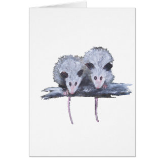 """Two Opossums"" Vertical Postcard"