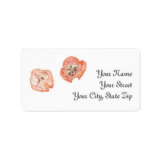Two orange tulips address label