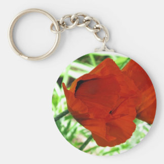 Two Oriental Poppies Basic Round Button Keychain