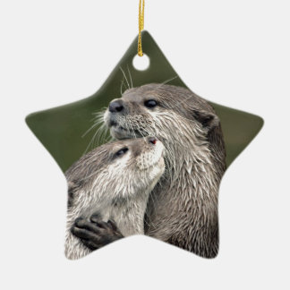 Two Otters Ceramic Ornament