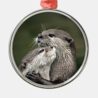Two Otters Metal Ornament