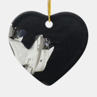 Two outboard boat motors ceramic heart ornament