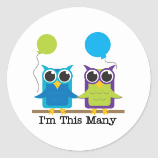 Two Owls I'm This Many Classic Round Sticker