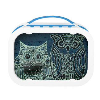 Two owls Yubo Lunchbox, Blue Lunch Box