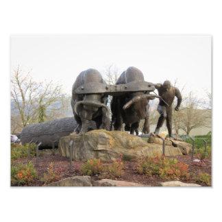 Two Oxen Pulling a Log Bronze Sculpture Photo Print