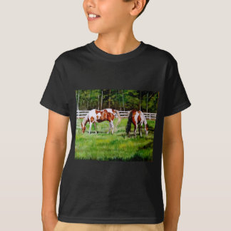 Two Paint Horses grazing T-Shirt