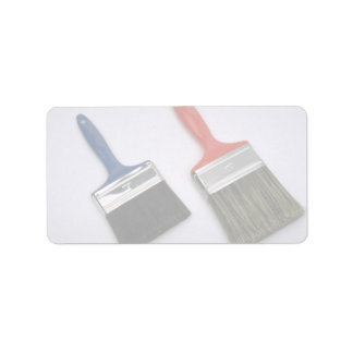 Two painting brushes personalized address label