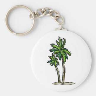 Two Palm Trees Basic Round Button Keychain