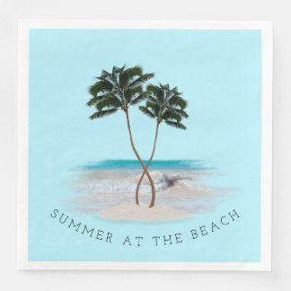 Two Palm Trees Summer at the Beach Napkins Paper Napkin