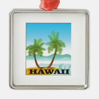 two palms of hawaii metal ornament