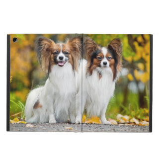 Two Papillon dogs in autumn iPad Air Cases