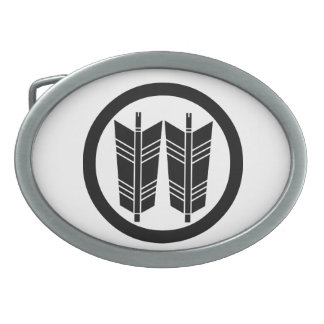 Two parallel arrows in circle oval belt buckle