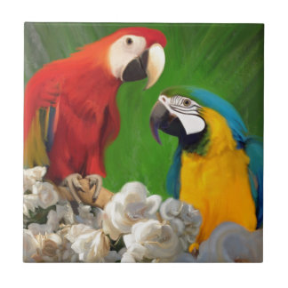Two Parrots and White Roses Tile