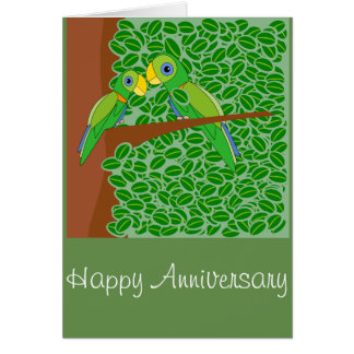 Two parrots happy anniversary greeting card