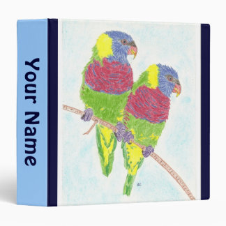 Two parrots personalized school binder