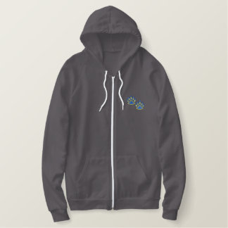 Two Paw Prints Embroidered Hoodie