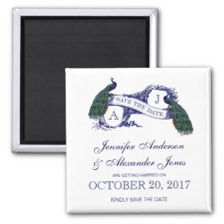 Two Peacocks | Rustic Save the Date Square Magnet