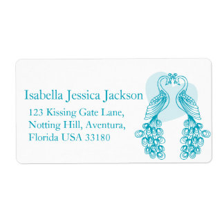 Two peafowl wedding return reply label shipping label