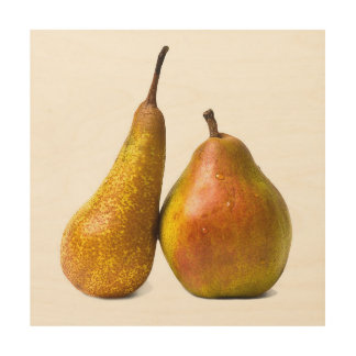 Two pears wood print