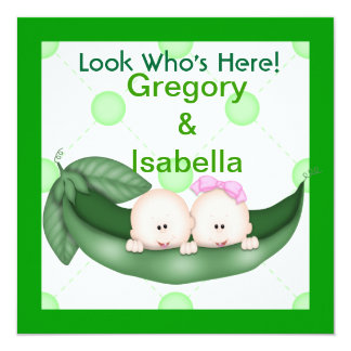 TWO PEAS IN A POD BABY ANNOUNCEMENTS
