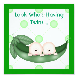 TWO PEAS IN A POD BABY SHOWER  INVITATION  GIRL OR