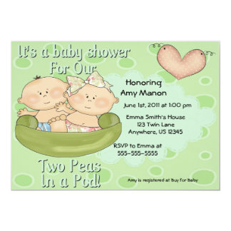 Two Peas in a Pod Boy Girl Baby Shower Invitation