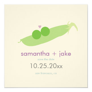 Two Peas in a Pod Save the Date: Cream Felt Paper Card