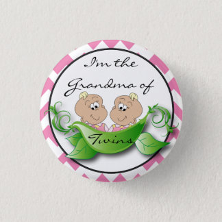 Two Peas in a Pod Twin Baby Girl Shower Theme 1 Inch Round Button