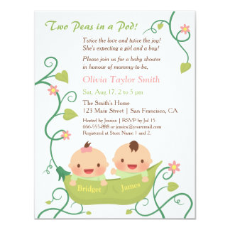 """Two Peas in a Pod Twin Baby Shower with Names 4.25"""" X 5.5"""" Invitation Card"""