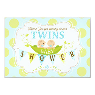 Two Peas in a Pod Twin Boys Thank You Card