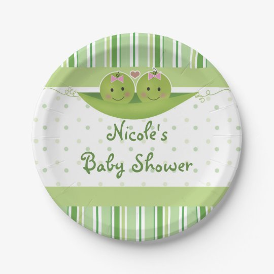 Two Peas in a Pod Twin Girls Baby Shower Custom 7 Inch Paper Plate