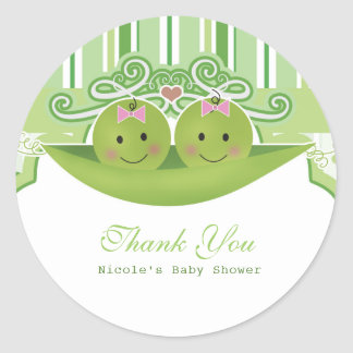 Two Peas in a Pod Twin Girls Baby Shower Favor Classic Round Sticker