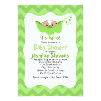 Two Peas in a Pod Twins Baby Shower Card