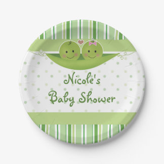 Two Peas in a Pod Twins Baby Shower Party Custom Paper Plate