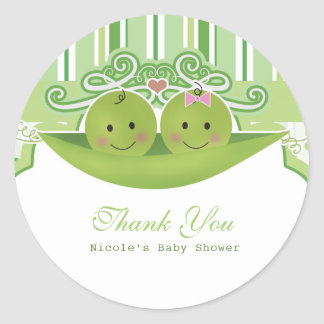 Two Peas in a Pod Twins Baby Shower Party Favor Classic Round Sticker