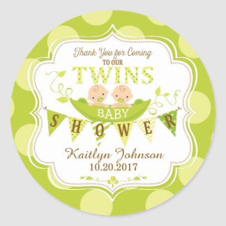 Two Peas in a Pod Twins Thank You Label Round Sticker