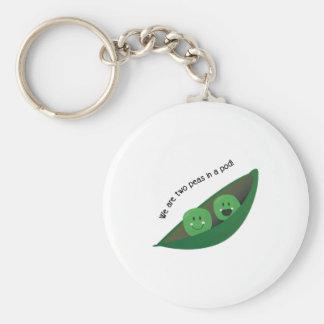 Two Peas in Pod Basic Round Button Keychain