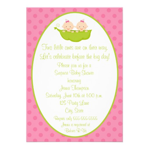 Two Peas Twin Girls Baby Shower Invitation