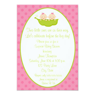 "Two Peas Twin Girls Baby Shower Invitation 5"" X 7"" Invitation Card"