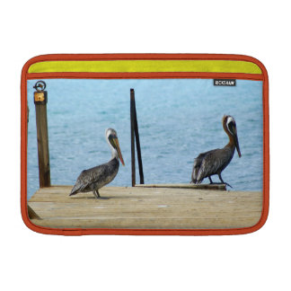 "Two pelicans on the pier, Curacao, Caribbean, 11"" MacBook Air Sleeve"