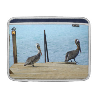 """Two pelicans on the pier, Curacao, Caribbean, 13"""" Sleeve For MacBook Air"""